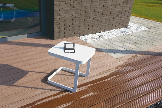 Table de jardin carré en aluminium, LEXY