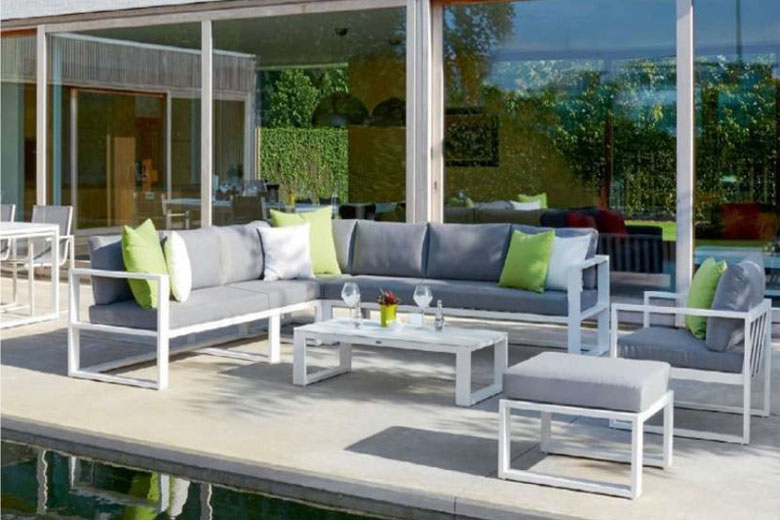 Salon de jardin d'angle en aluminium, BELLY COOL