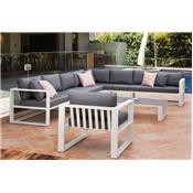 Salon de jardin d'angle en aluminium, BELLY XL